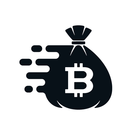 Fast money transfer icon with bitcoin on white background. Financial icon design. Çizim