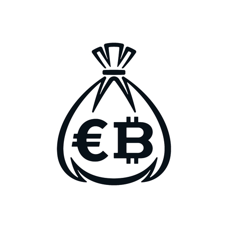 Money bag icon with euro symbol and bitcoin on white background. Financial icon design. Çizim