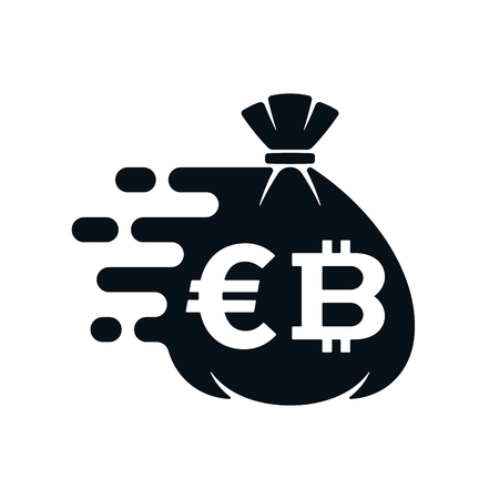 Fast money transfer icon with euro symbol and bitcoin on white background. Financial icon design. Çizim