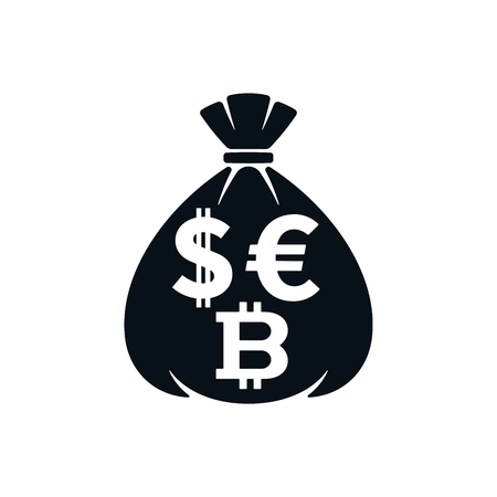 Money bag icon with dollar sign, euro symbol and bitcoin on white background. Financial icon design. Çizim