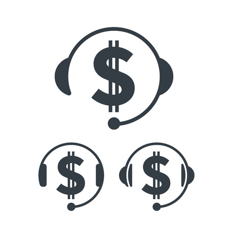 Headphones and dollar sign. Banking and financial call center icon. Financial concept design. Illustration