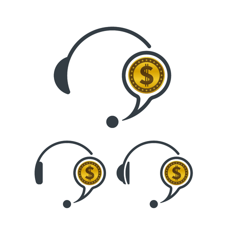 Headphones and dollar coin. Banking and financial call center icon. Financial concept design.