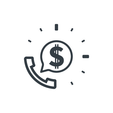 Telephone and dollar sign. Banking and financial support icon. Financial concept design.