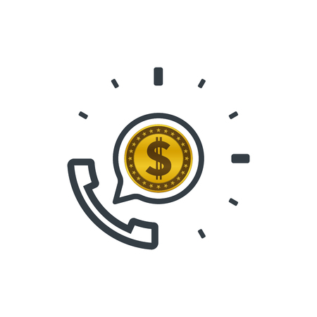 Telephone and dollar coin. Banking and financial support icon. Financial concept design.