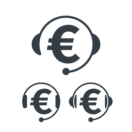 Headphones and euro symbol. Banking and financial call center icon. Financial concept design. Illustration