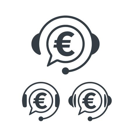 Headphones and euro symbol. Banking and financial call center icon. Financial concept design. Stock Vector - 124604982