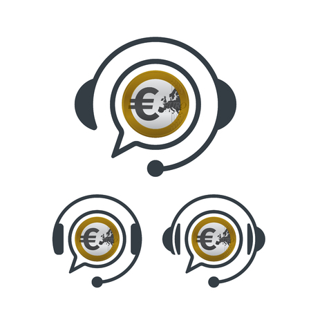 Headphones and euro coin. Banking and financial call center icon. Financial concept design. Illustration