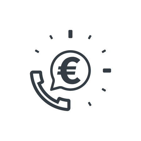 Telephone and euro symbol. Banking and financial support icon. Financial concept design.