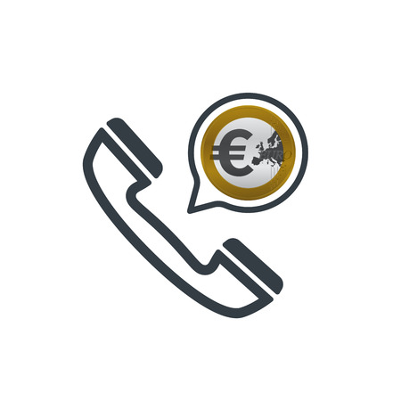 Telephone and euro coin. Banking and financial support icon. Financial concept design. Stock Vector - 124604988