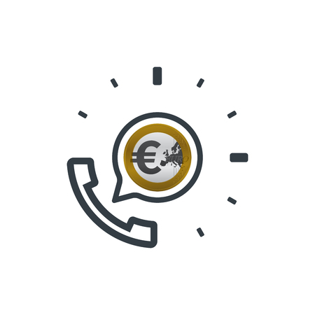 Telephone and euro coin. Banking and financial support icon. Financial concept design.