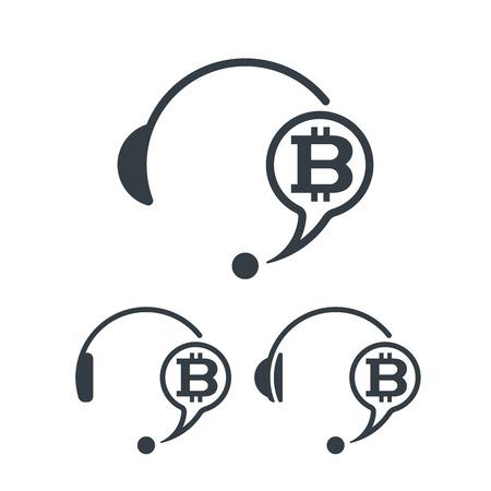 Headphones and bitcoin. Banking and financial call center icon. Financial concept design.