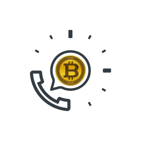 Telephone and bitcoin. Banking and financial support icon. Financial concept design.
