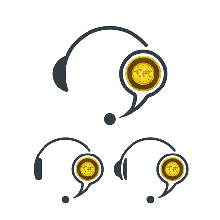 Headphones and gold. Banking and financial call center icon. Financial concept design.