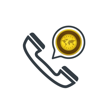 Telephone and gold. Banking and financial support icon. Financial concept design.