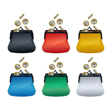 Portefeuilles multicolores avec des pièces en euros sur fond blanc. Conception de concept financier. Vecteurs
