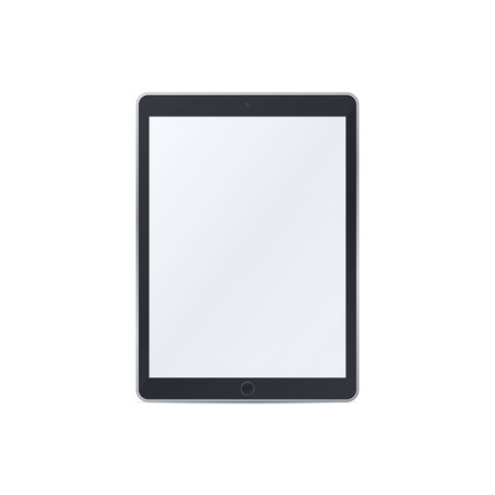Tablet pc with blank screen on white background. Technological device template. Realistic mockup vector design. Çizim