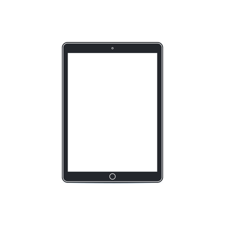 Tablet pc with blank screen on white background. Technological device template. Flat mockup vector design. Illustration