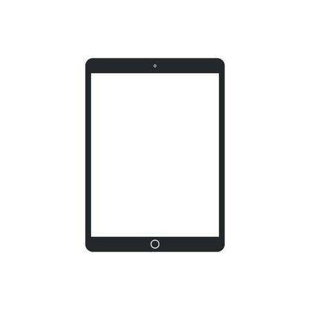 Tablet pc con pantalla en blanco sobre fondo blanco. Plantilla de dispositivo tecnológico. Diseño de vector de maqueta simple.