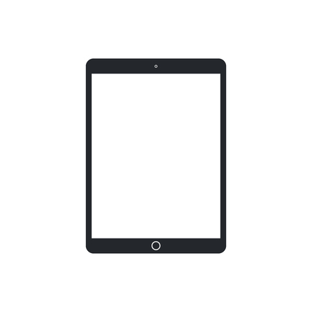 Tablet pc with blank screen on white background. Technological device template. Simple mockup vector design.