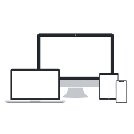 Desktop pc, laptop, tablet pc and smart phone set on white background. Technological devices template with blank screen. Flat mockup vector design.