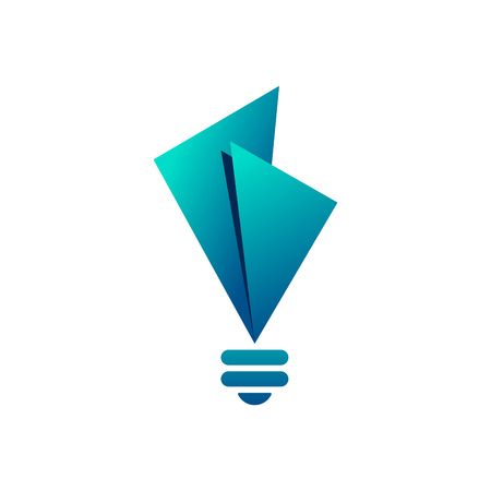 Creative light bulb symbol with triangles on white background. Bulb icon design.
