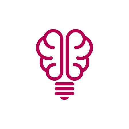 Brain shaped bulb on white background. Creative idea icon.