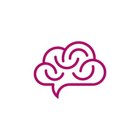 Brain and cloud shaped speech bubble on white background. Creative idea icon.