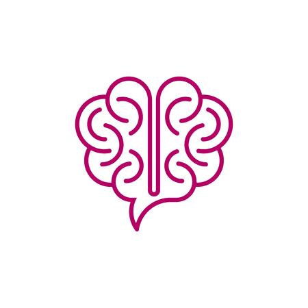 Speech bubble shaped brain on white background. Creative idea icon.