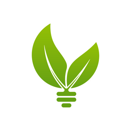 Bulb symbol with sun and leaves on white background. Energy icon design. Çizim