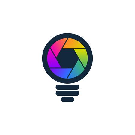 Colorful shaped bulb symbol on white background. Media and photography icon. Çizim