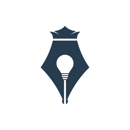 Pen nib with bulb and crown on white background. Creative idea icon. Çizim