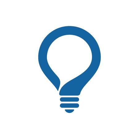 Bulb with speech bubble on white background. Creative idea icon.