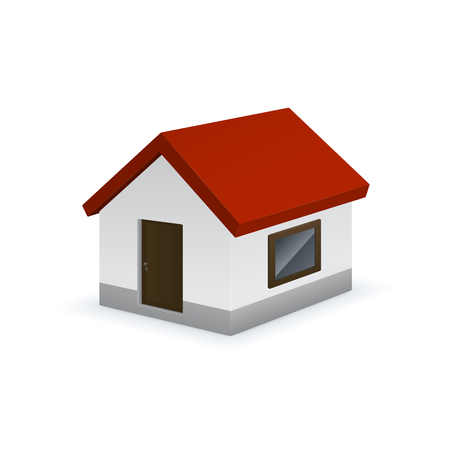 Colorful cute house on white background. House vector icon. Çizim
