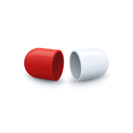 Divided empty capsule on white background. Drug vector icon.
