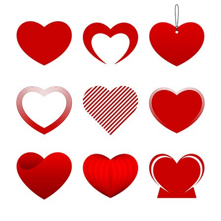 Red hearts on white background. Different hearts collection.