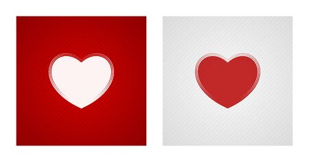 Blank heart sketches on red and white striped backgrounds. Romance backgrounds.
