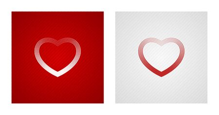 Outline heart sketches on red and white striped backgrounds. Romance backgrounds.