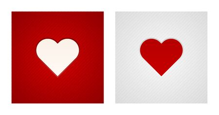 Engraving heart shapes on red and white striped backgrounds. Romance backgrounds.