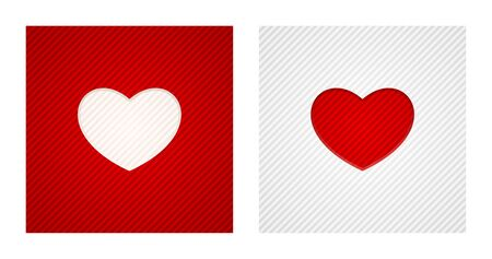 Striped engraving heart shapes on red and white backgrounds. Romance backgrounds. Çizim