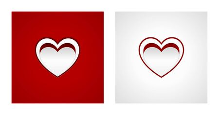 Cut heart shapes on red and white striped backgrounds. Romance backgrounds.