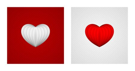 Paper hearts on red and white striped backgrounds. Romance backgrounds.