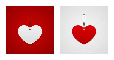 Heart shaped labels on red and white striped backgrounds. Romance backgrounds.