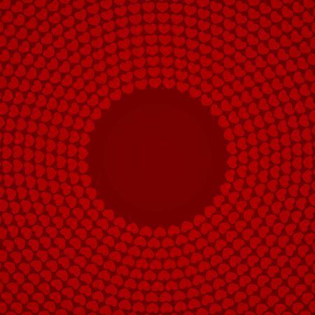 Circular heart patterns on red backgrounds. Romance backgrounds. Çizim