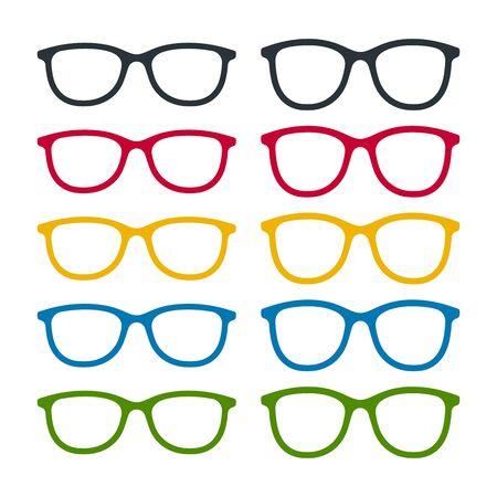 Different color glasses frames on white background. Eyeglasses icon set.