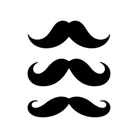 Baffi su sfondo bianco. Icone piane di baffi. Vettoriali