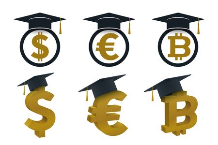 Graduation cap icons with currency. Educational and financial concept design. Ilustração