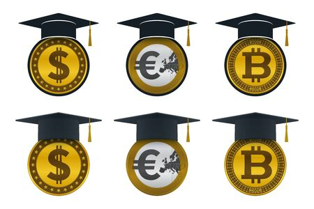Graduation cap icons with coins. Educational and financial concept design.