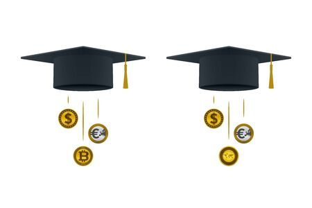 Various coins coming out of graduation caps. Educational and financial concept design.