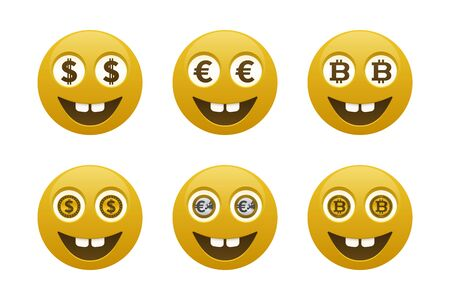 Smiley emoticons with currencies. Emoticon and finance icons.  イラスト・ベクター素材