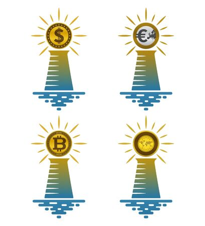 Lighthouse icons with coins on white background. Financial and nautical concept design. Çizim